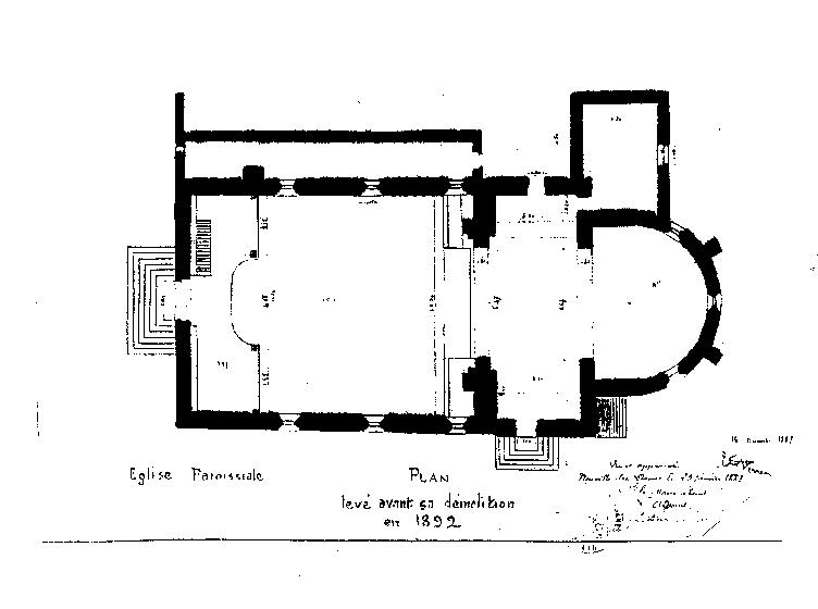 Plan de l'ancienne égilse paroissiale